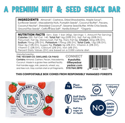 The YES Bar Strawberry Coconut Snack Bar