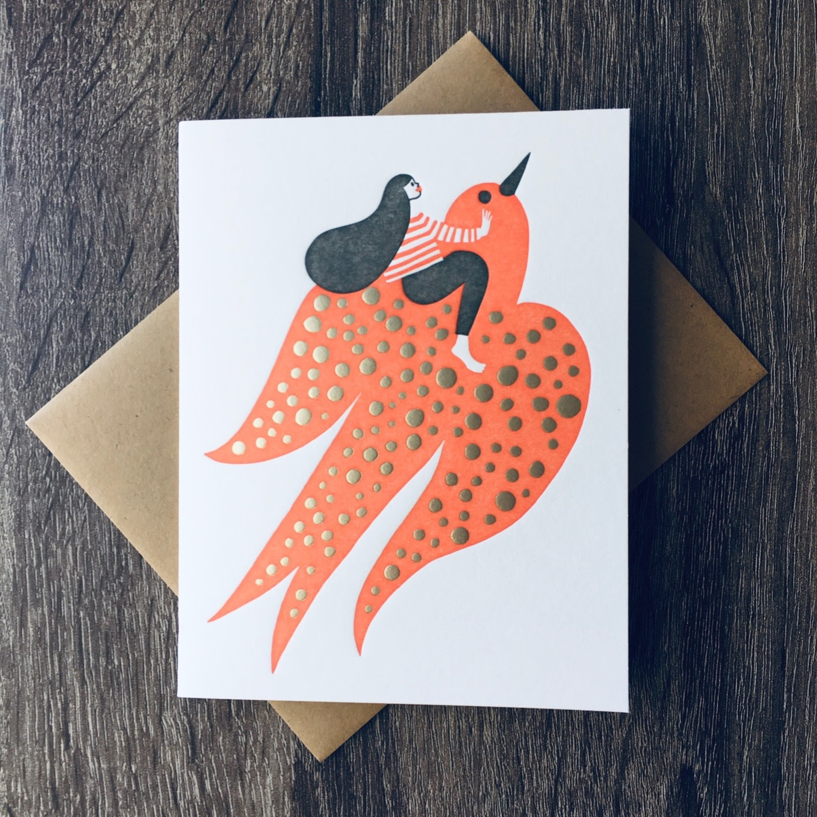 Bison Bookbinding & Letterpress Flying High (Girl On Swallow) Greeting Card