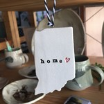"Tasha McKelvey Ceramic Red Heart ""home"" Indiana Wall Ornament"