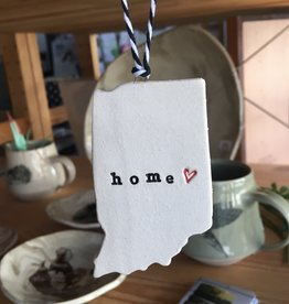 "Tasha McKelvey Ceramic Red Heart ""home"" Indiana Ornament"
