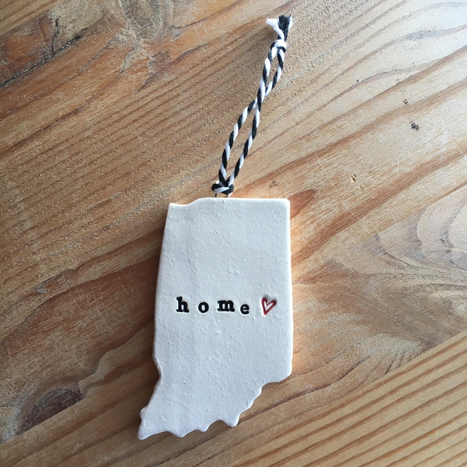"Tasha McKelvey Ceramic Red Heart ""home"" Indiana Ornament"