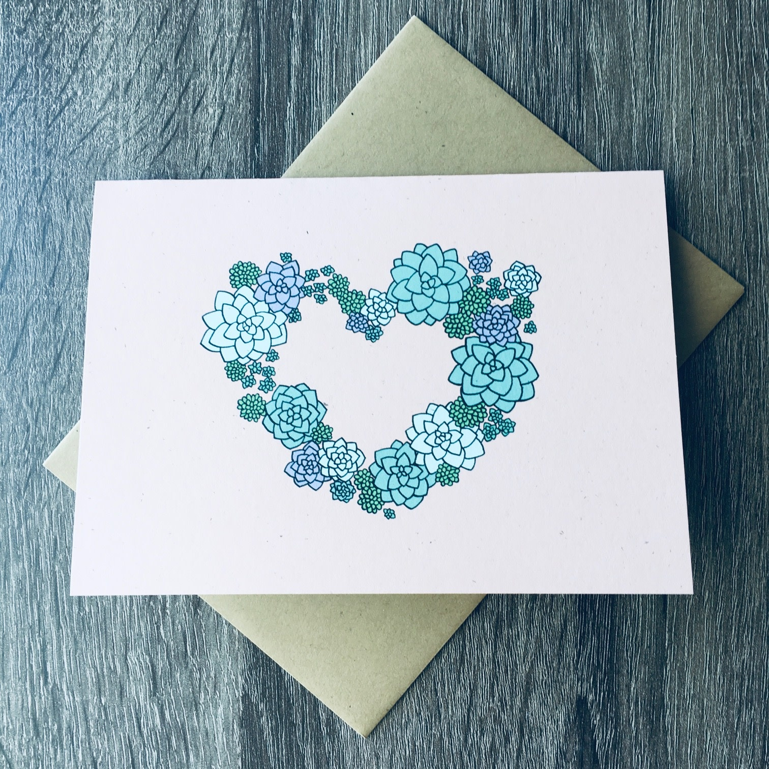 Champaign Paper Heart Succulent Greeting Card