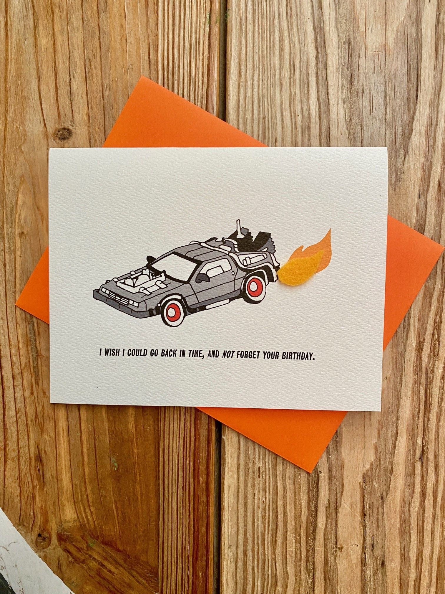 Cracked Designs Delorean: Belated Birthday Greeting Card