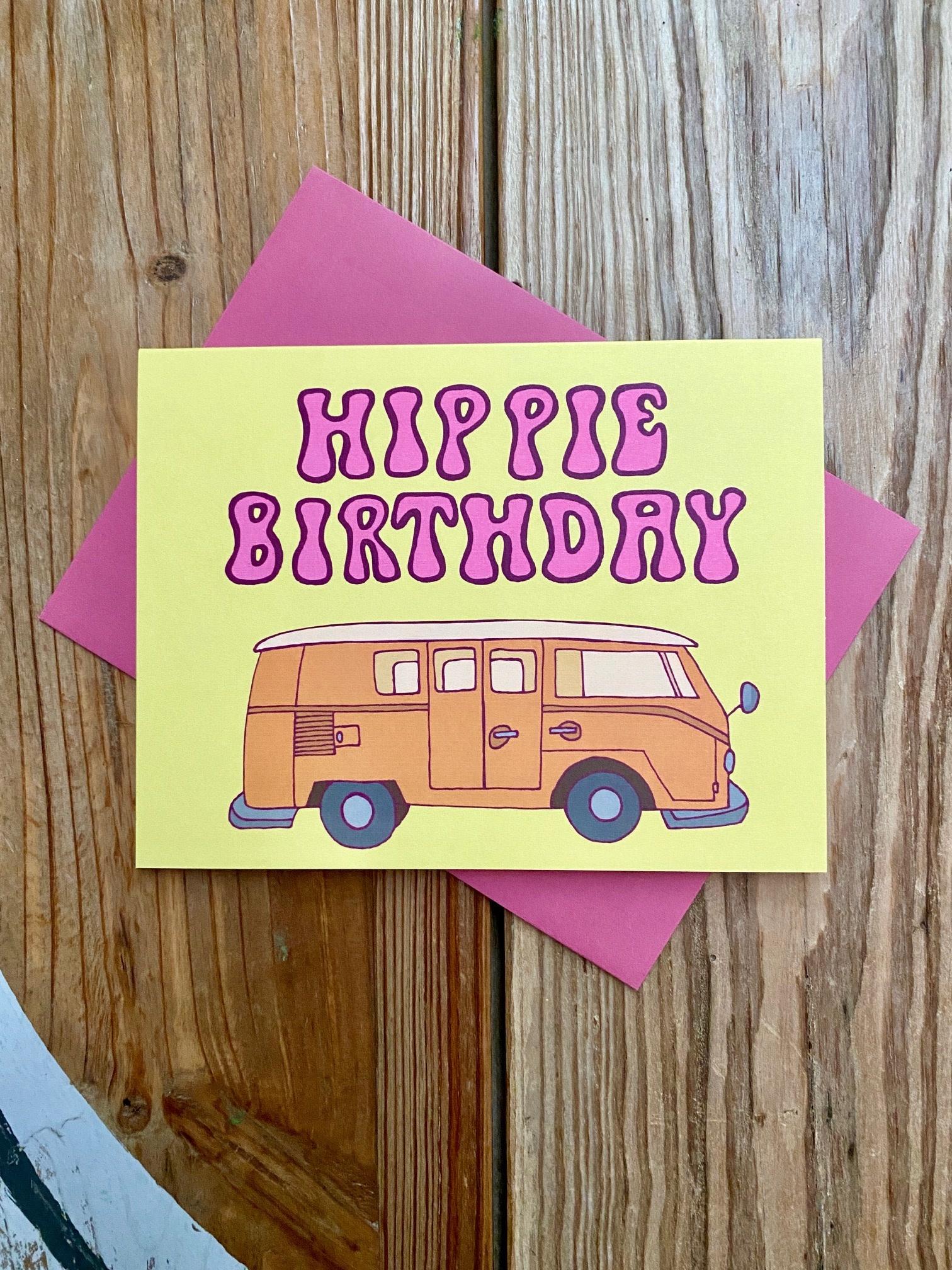 Fiber and Gloss Hippie Birthday Van Greeting Card