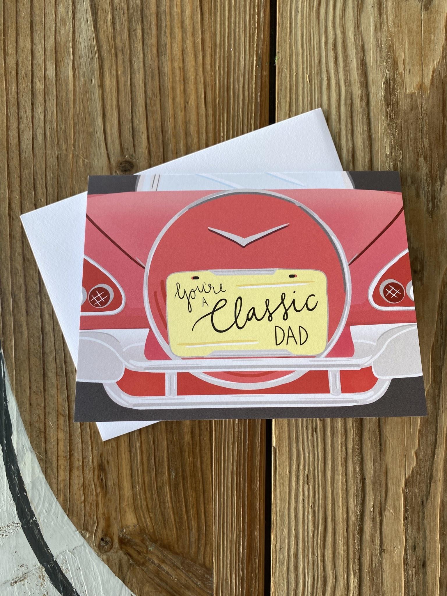 Bloomwolf Studio Classic Car Dad Greeting Card