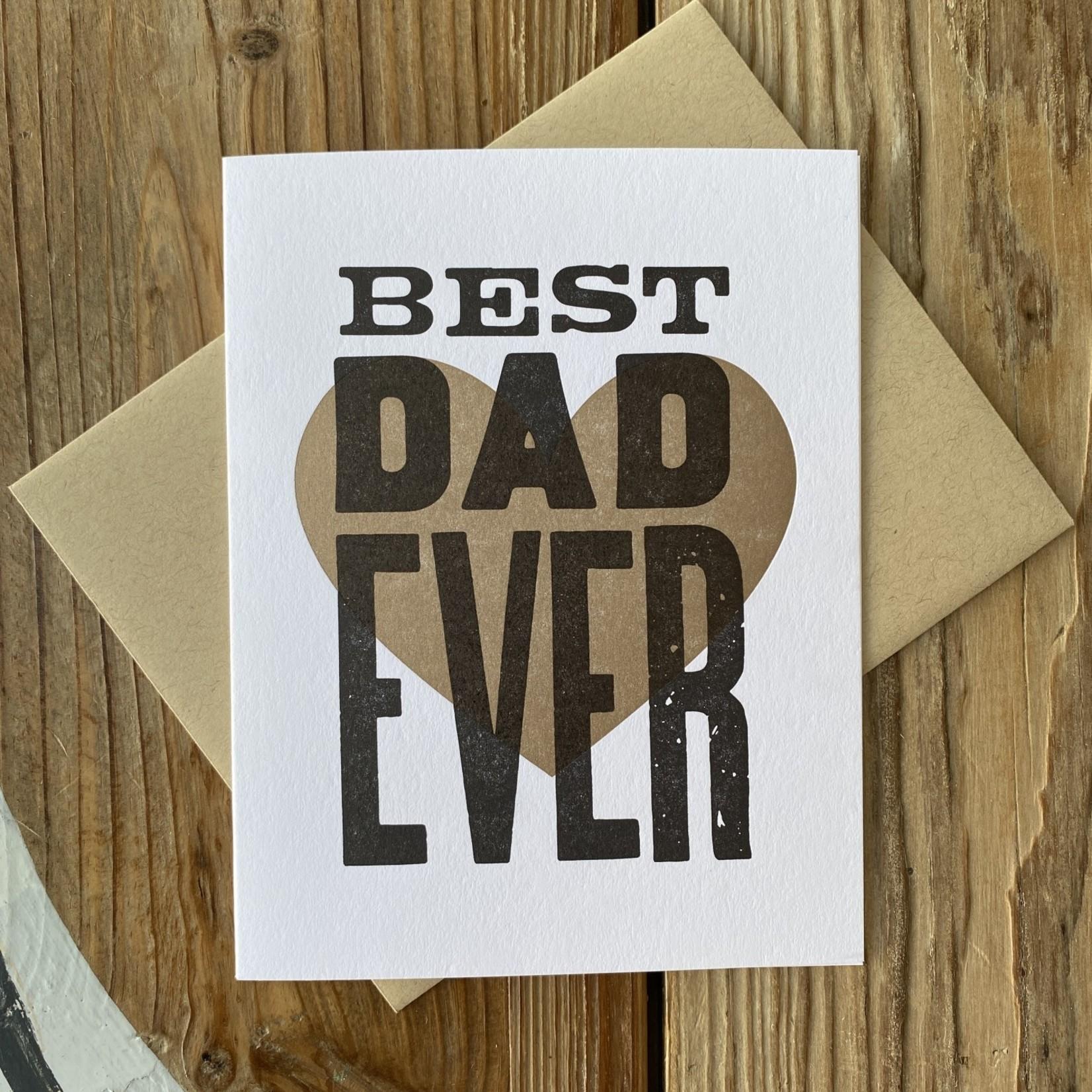 Igloo Letterpress Best Dad Ever Brown Heart Greeting Card