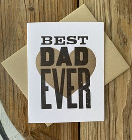Igloo Letterpress Best Dad Ever Brown Heart Greeting Card