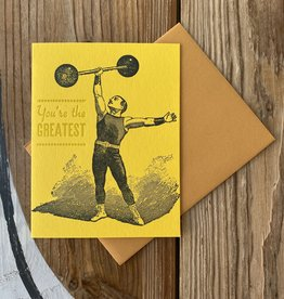 JustAJar Design Press You're The Greatest (Barbell) Greeting Card