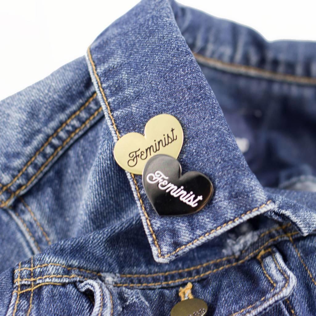 1606 // Sunset Avenue Ceramic Feminist Heart Enamel Pins