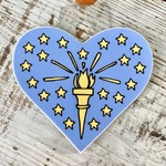 Jean Elise Designs Indiana State Flag Heart Sticker