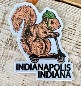 BadKneesTs Indy Squirrel On A Bird Sticker