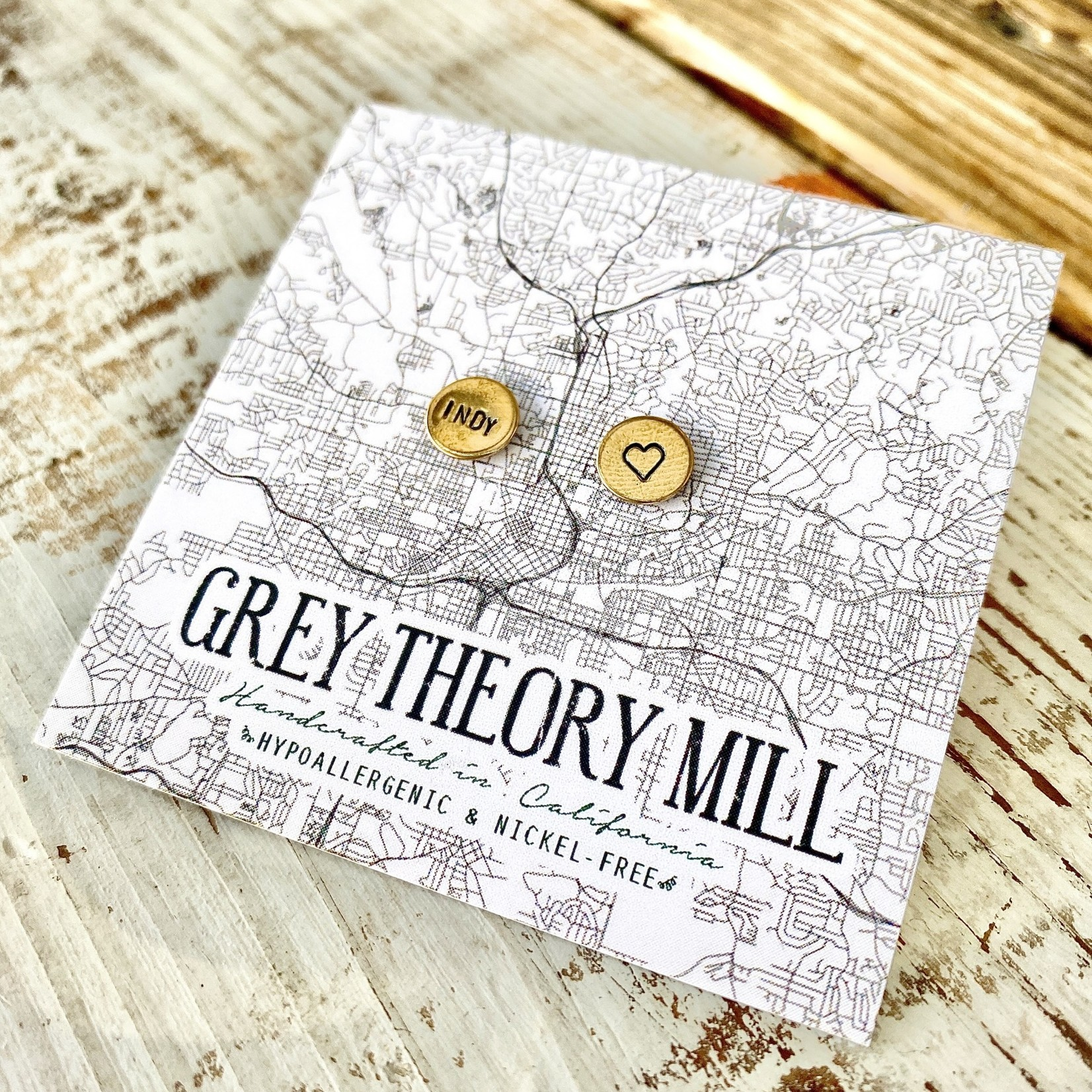 Grey Theory Mill INDY (Heart) Stud Earrings