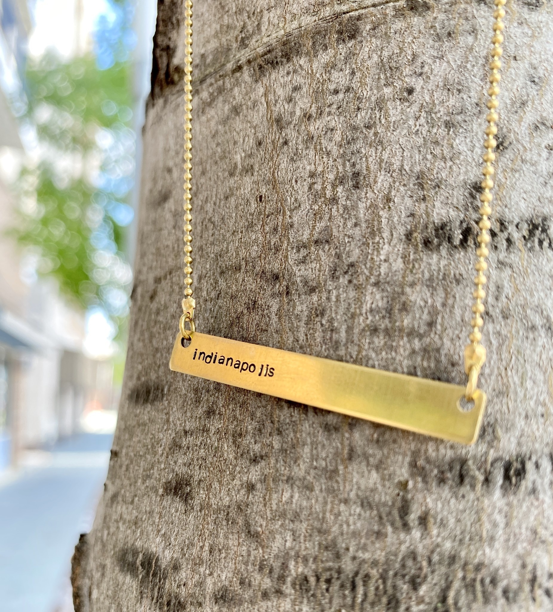 Grey Theory Mill Gold Indy Stamped Bar Necklace