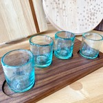 Son Of A Sailor Laredo Shot Board w/ Handblown Blue Shot Glasses