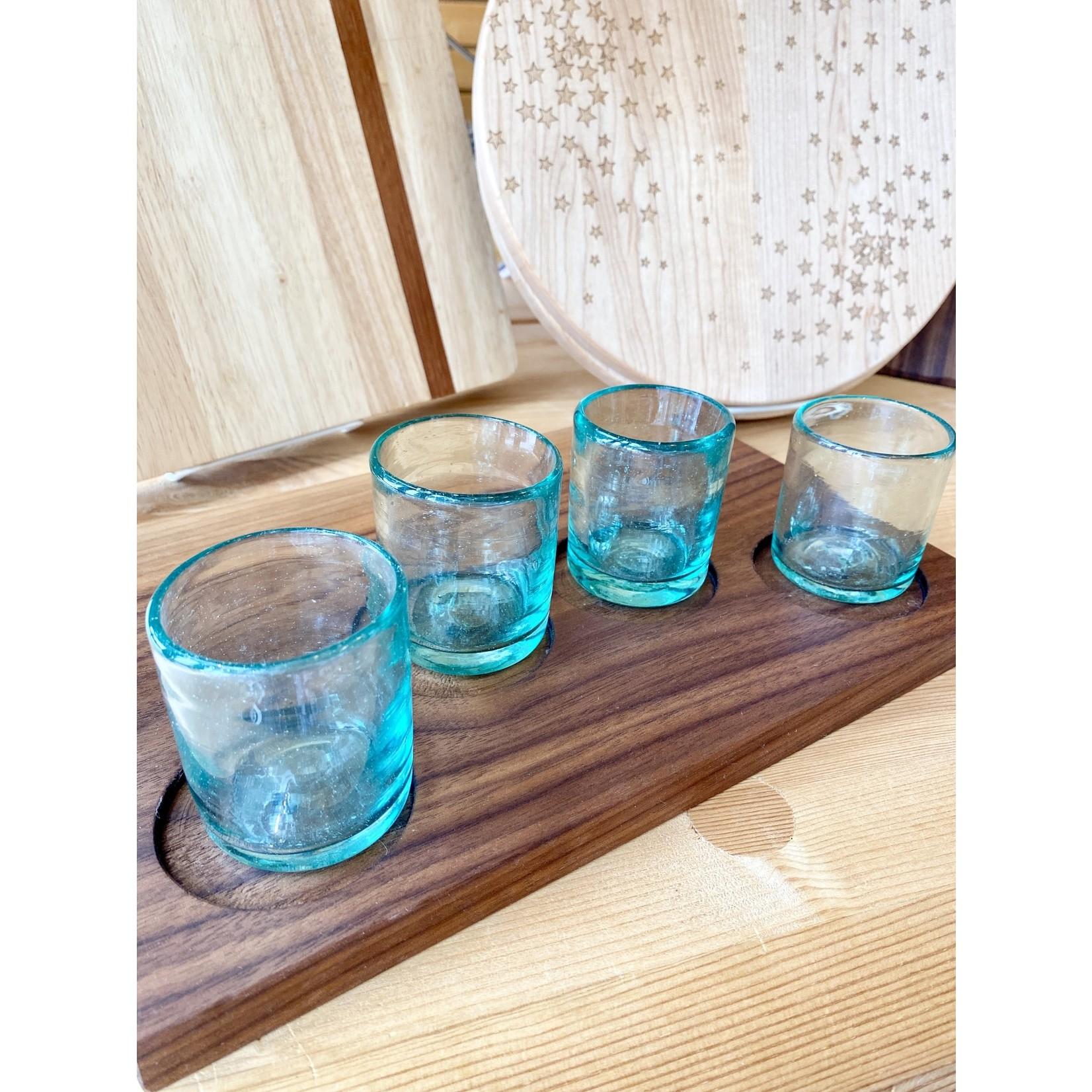 Son Of A Sailor Laredo Shot Board w/ Handblown Blue Shot Glasses