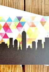 Paperfinch Design Geometric Yellow Indianapolis Skyline Greeting Card
