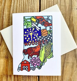 Fiber and Gloss Indiana Symbols Greeting Card