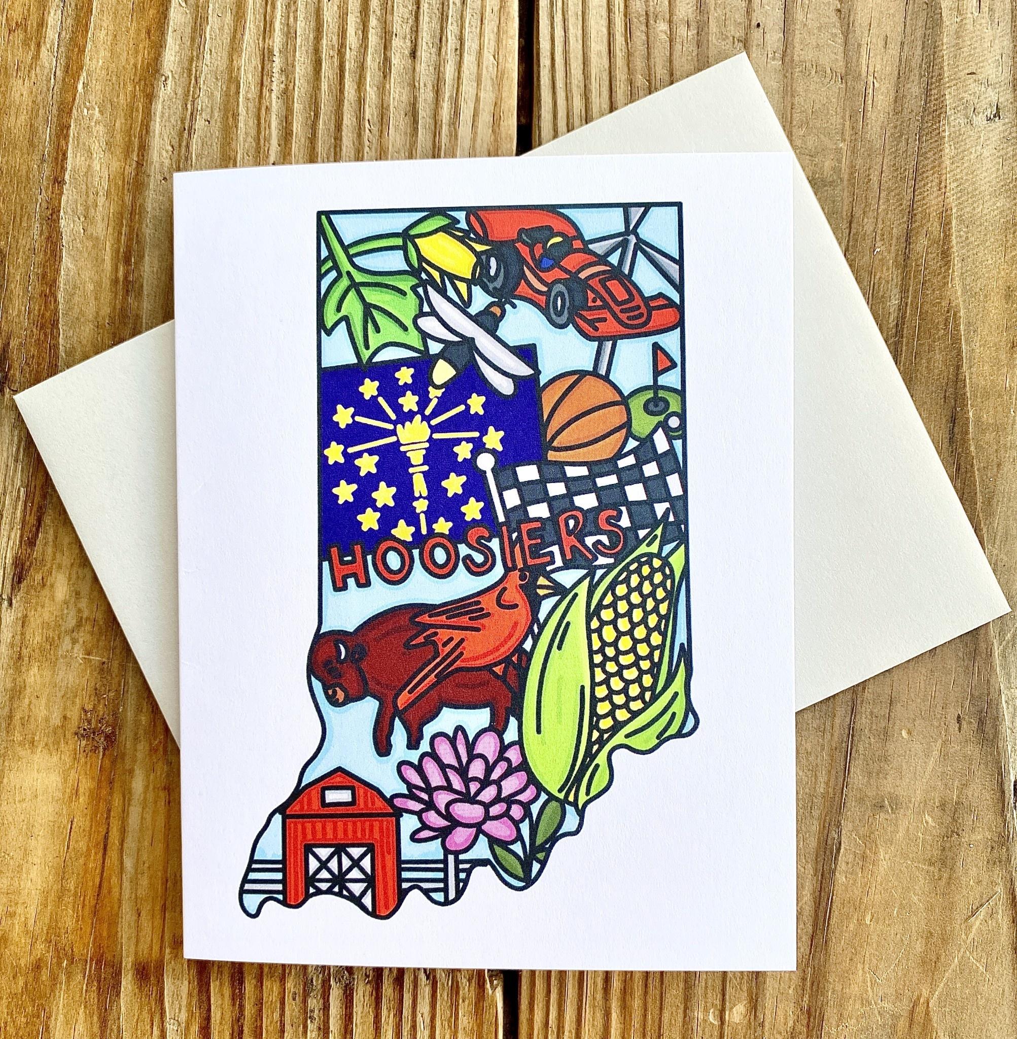 Fiber and Gloss Indiana Symbols Greeting Card