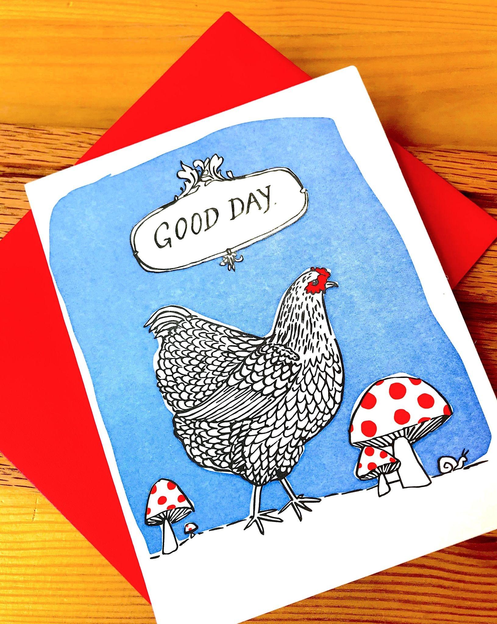 Big Wheel Press Good Day Hen Greeting Card