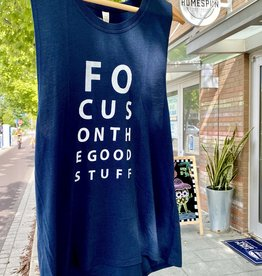 SuperLoveTees Focus On The Good Stuff Navy Muscle Tank
