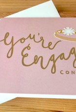 Bloomwolf Studio You're Engaged Pink Congrats Greeting Card