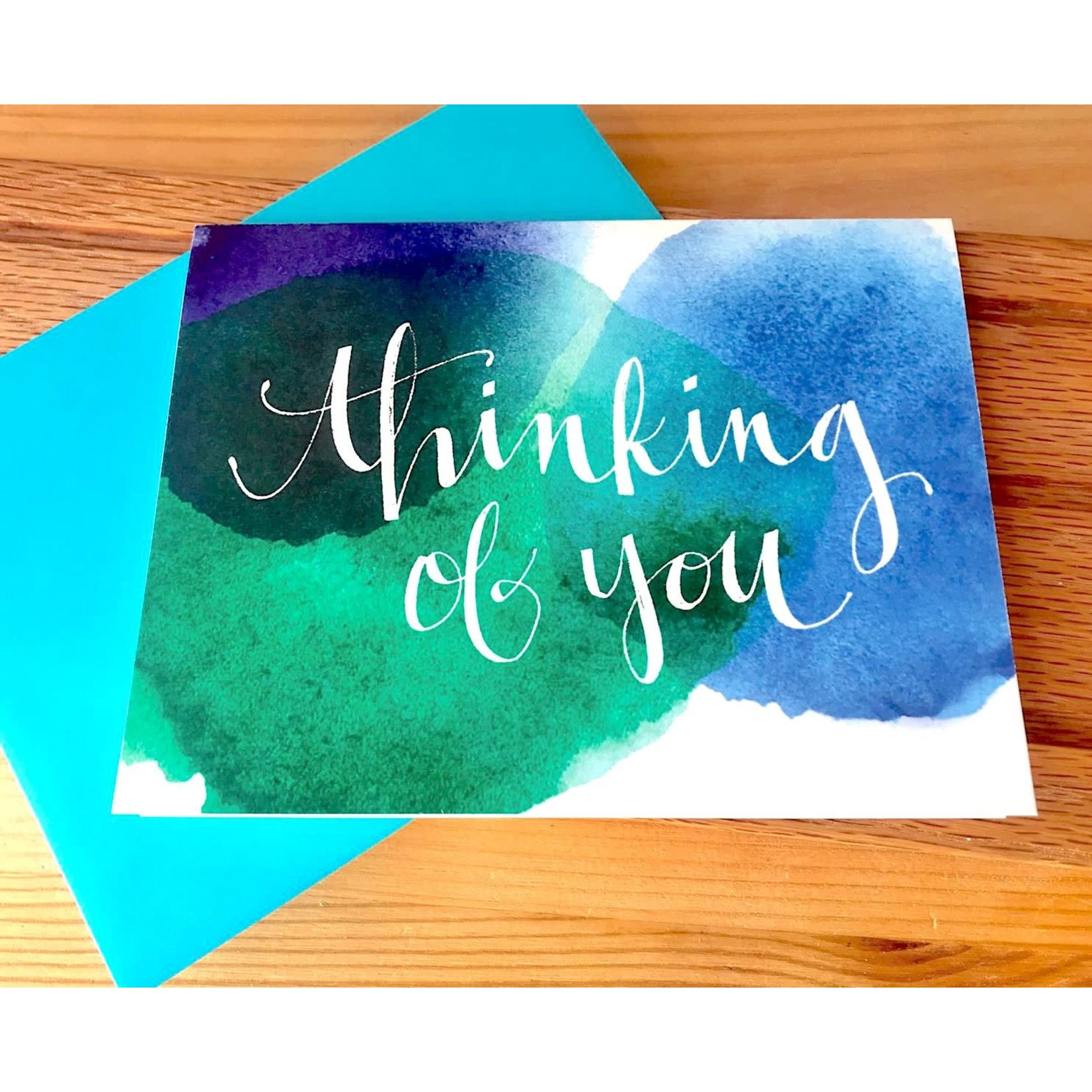An Open Sketchbook Watercolor: Thinking Of You Greeting Card