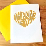 Exit343Design Thinking Of You Gold Heart Greeting Card