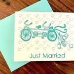 Paper Michelle Tandem Bike Wedding Greeting Card