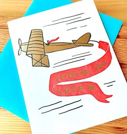 Big Wheel Press Sending You Love Airplane Greeting Card