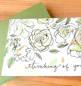 An Open Sketchbook Roses & Sage: Thinking Of You Greeting Card