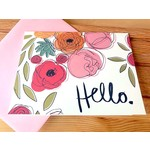 An Open Sketchbook Peony Bouquet: Hello Greeting Card