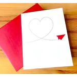 Design With Heart (QO) Red Paper Airplane Greeting Card