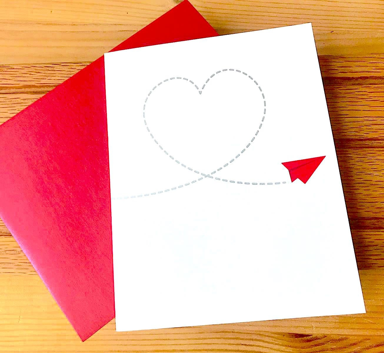 Design With Heart Red Paper Airplane Greeting Card