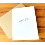 Green Bird Press Paper Plane Sending Love Letterpress Greeting Card