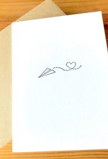 Green Bird Press Paper Plane Sending Love Letterpress Greeting Card