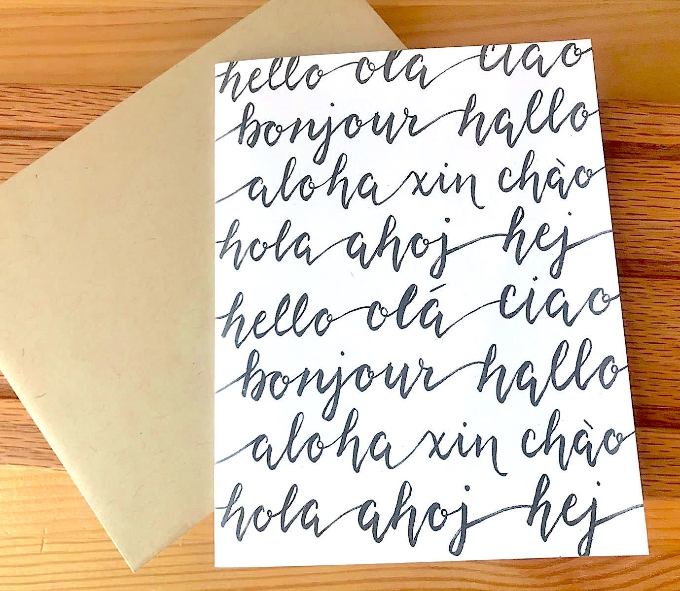Dear Ollie Hello Cursive Languages Greeting Card