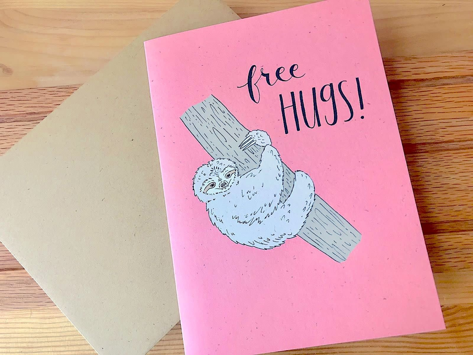 Champaign Paper Free Hugs Sloth Greeting Card