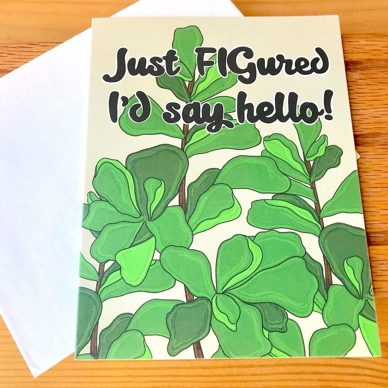 Fiber and Gloss FIGured I'd Say Hello Greeting Card