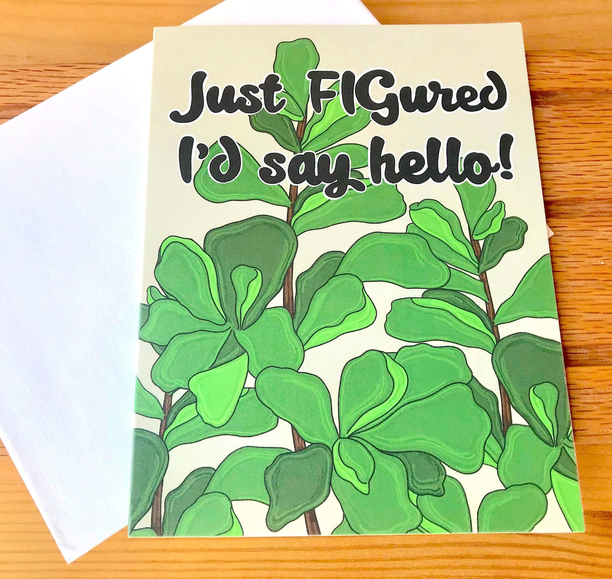 Fiber and Gloss FIGured I'd Say Hello Greeting Card