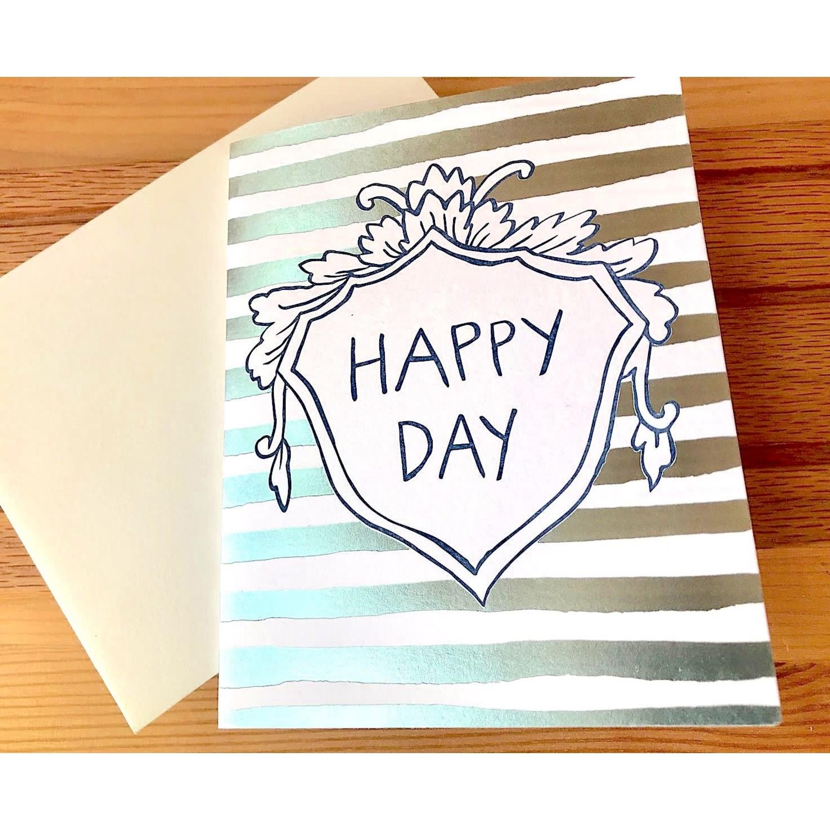 Big Wheel Press Happy Day Foil Stripes Greeting Card