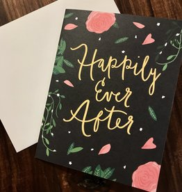 Bloomwolf Studio Black Floral Happily Ever After Greeting Card