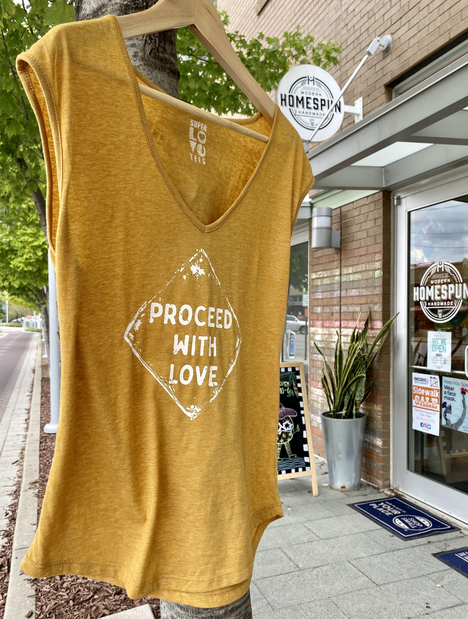 SuperLoveTees Proceed With Love Gold V-Neck Muscle Tee