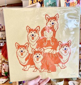 John Vogl / The Bungaloo 5 Corgis 12x12 Art Print