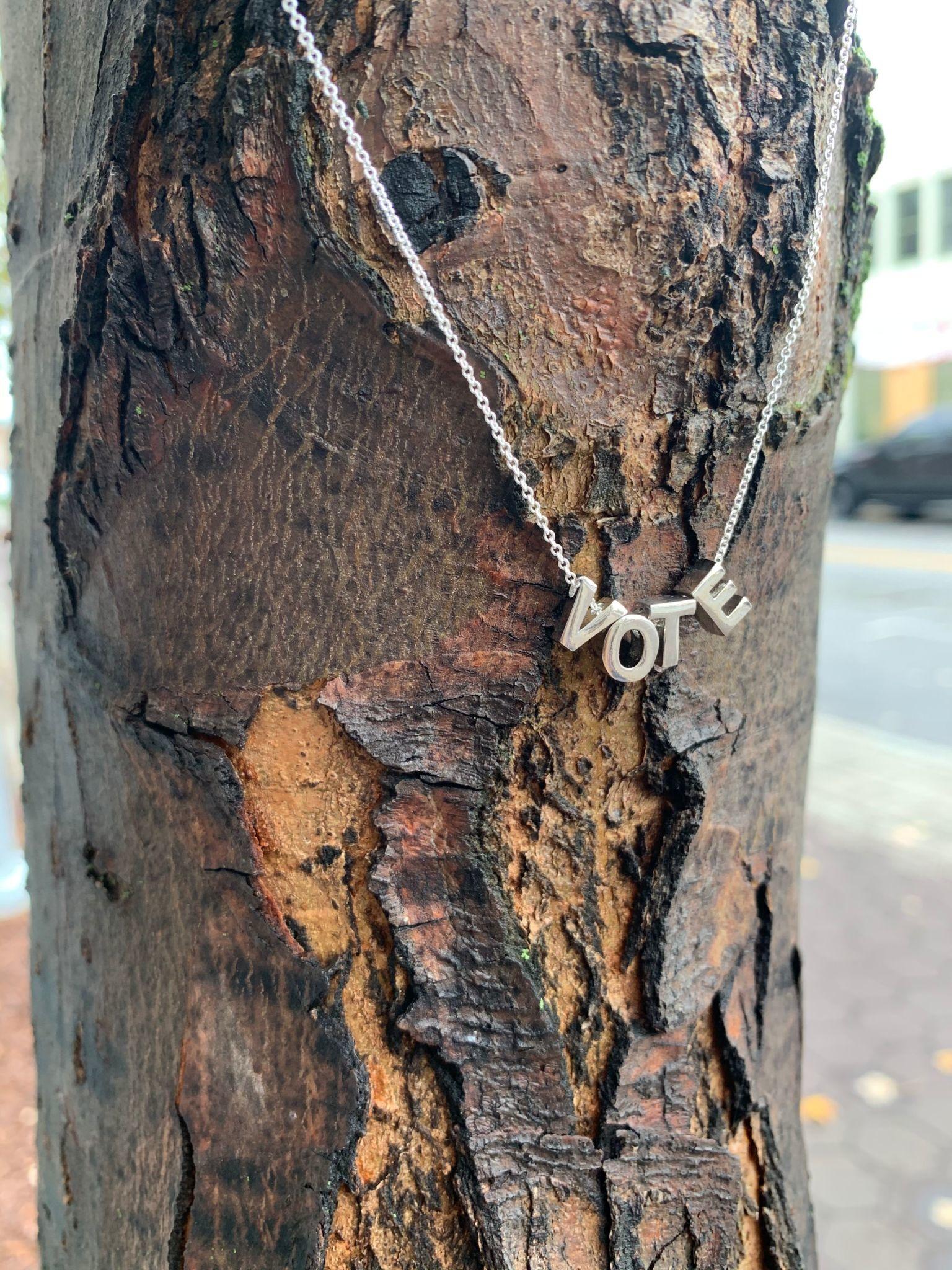 Larissa Loden VOTE Rhodium-Plated Letter Necklace