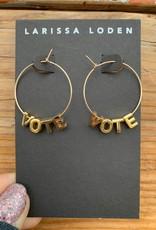 Larissa Loden VOTE 24k Gold-Plated Letter Earrings