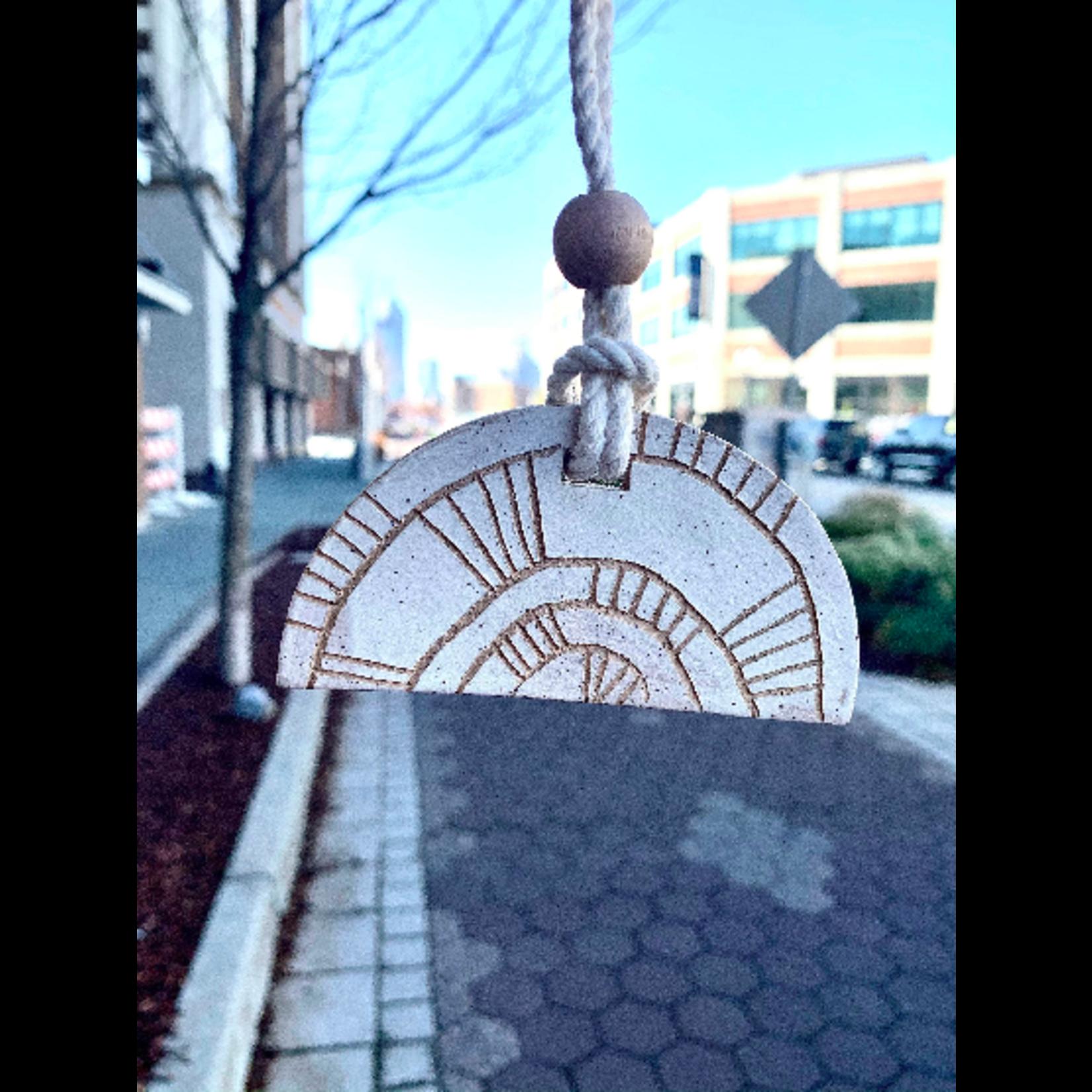 Janelle Gramling Half-Circle Hills Totem Ceramic Ornament