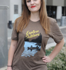 United State of Indiana Explore Outdoors Brown Tee
