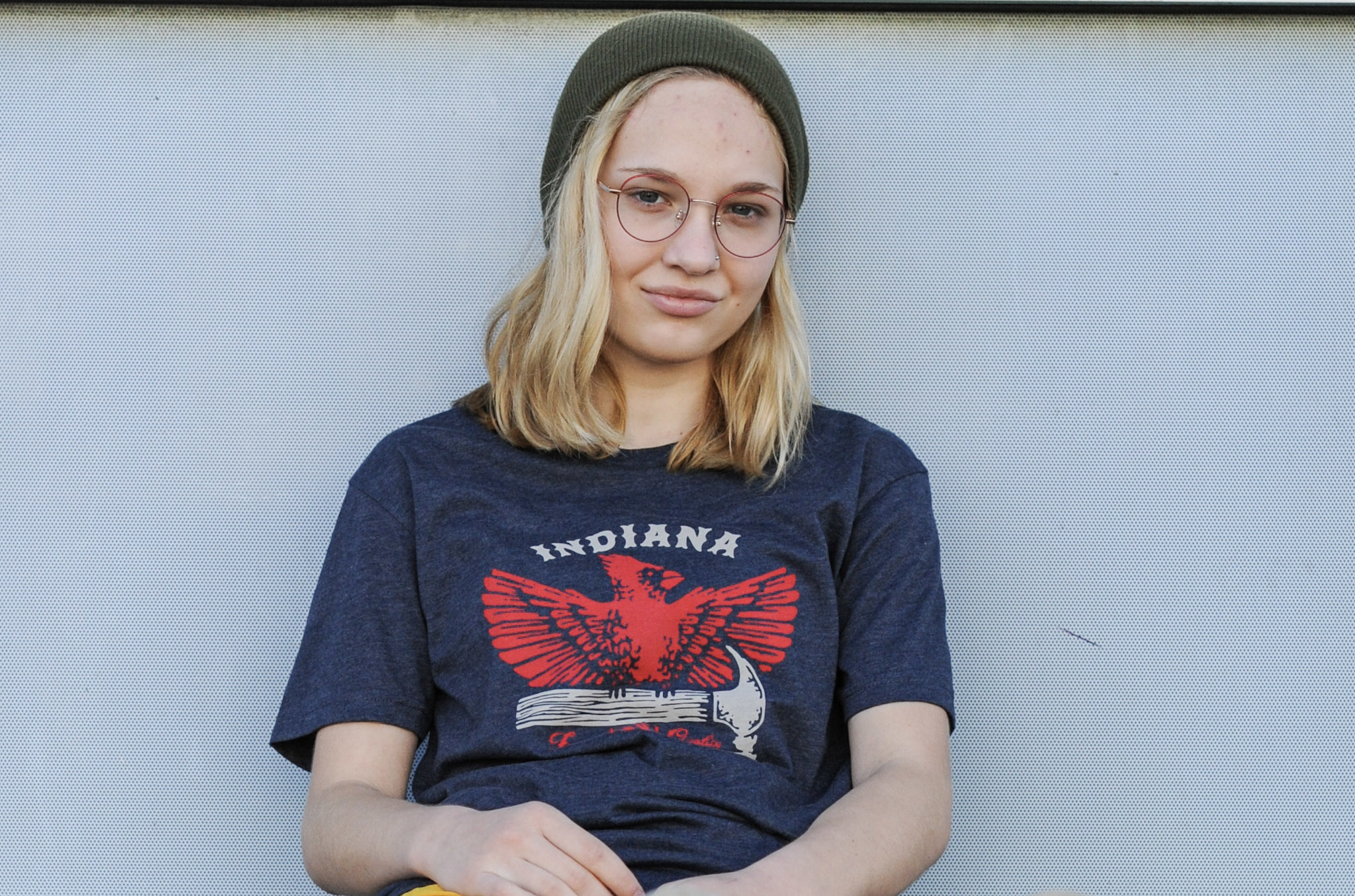 United State of Indiana Cardinal + Hammer Navy Tee