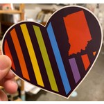 United State of Indiana USI Flag Rainbow Heart Sticker