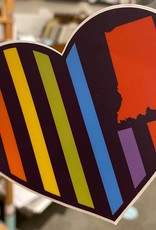 United State of Indiana USI Flag Rainbow Heart Sticker